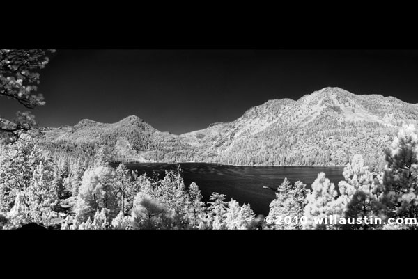 Black and white panorama of Emerald Bay at Lake Tahoe