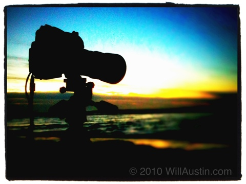 Nikon D700 camera on tripod at sunset on the last day of 2010