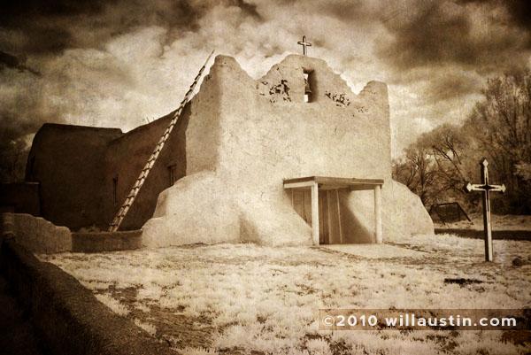 Storm above the San Lorenzo de Picurís Mission at the Picuris Pueblo in New Mexico