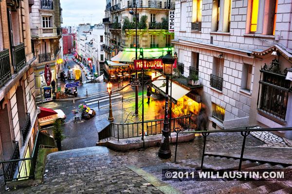 Monmartre area of Paris France - Lamarck Coulaincourt Metro Stop