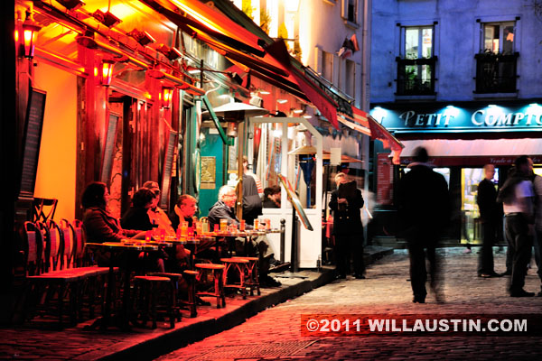 Bistro at night - Monmartre in Paris, France