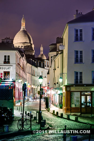 Rue Norvins at night - Monmartre area in Paris, France