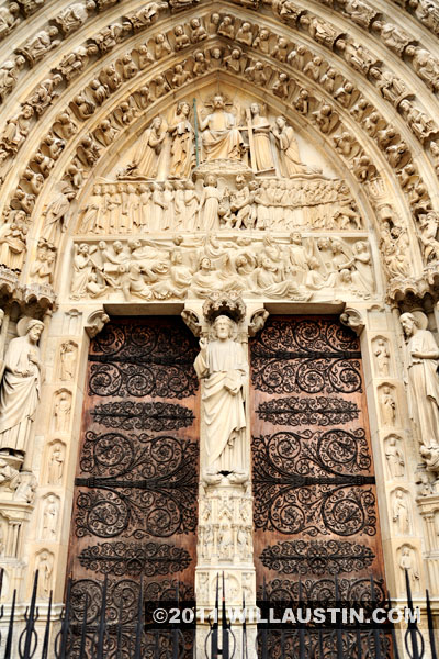 Entry of the Notre Dame Cathedral in Paris