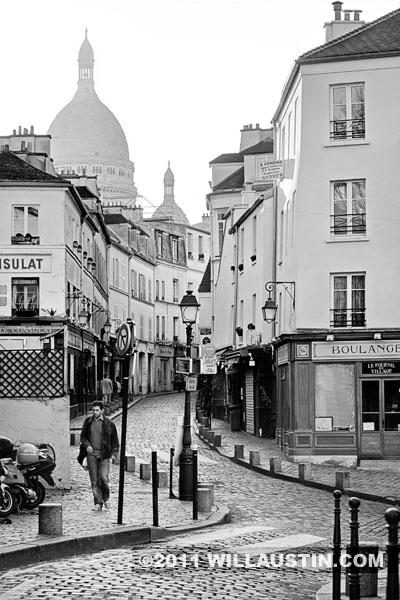 Rue Norvins on Monmartre in Paris, France at sunrise