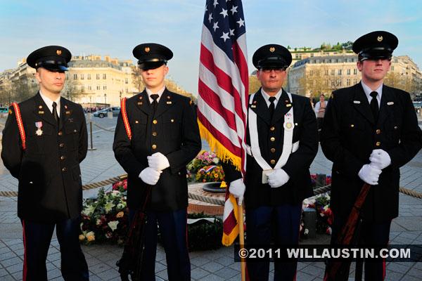 Veteran's ceremony at the Arc de Triomphe in Paris, France