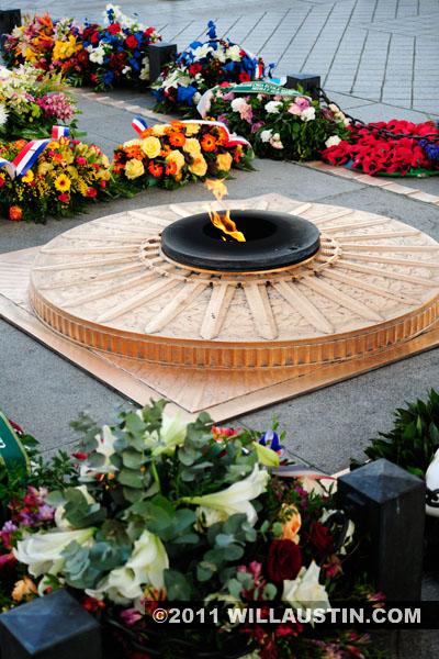 Eternal flame at the Arc de Triomphe in Paris, France