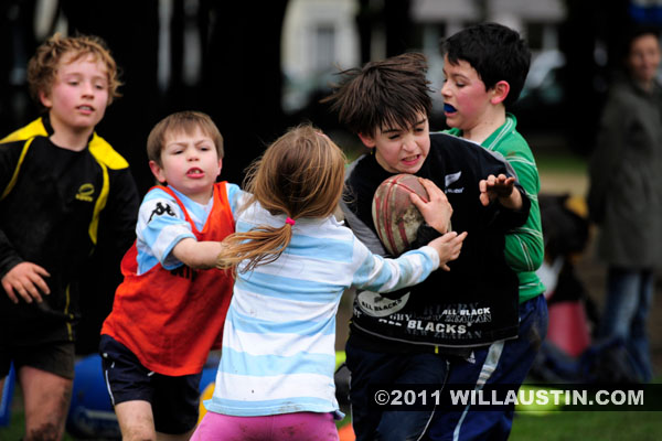 Children playing rugby in the Invalides area of Paris