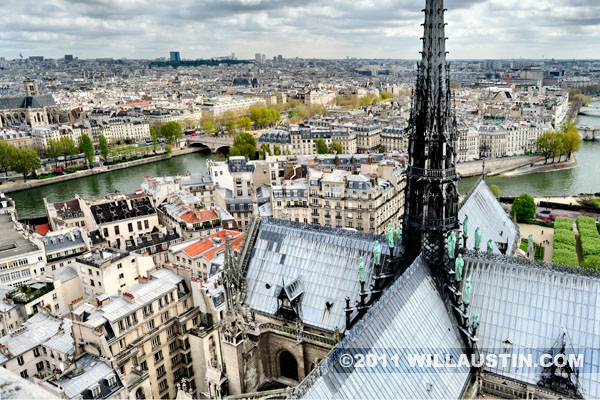 View to the east from the top of the Notre Dame Cathedral, Paris