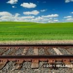 Railroad track and wheat field near Moscow, Idaho