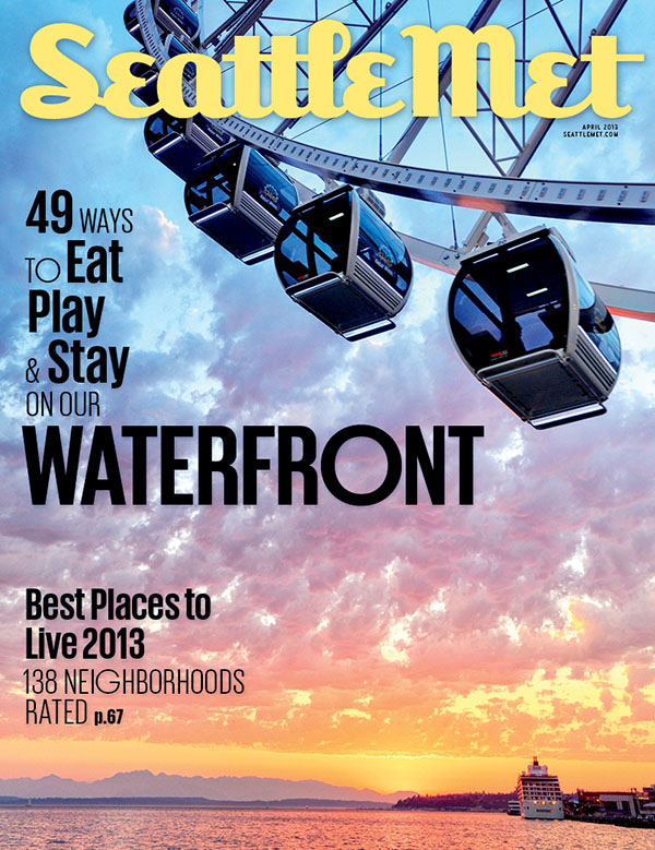Seattle Met magazine cover image seattle sunset and great wheel by Will Austin