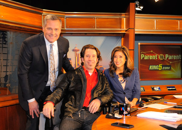 Mark Wright, Will Austin and Mimi Jung in the KING 5 newsroom in Seattle