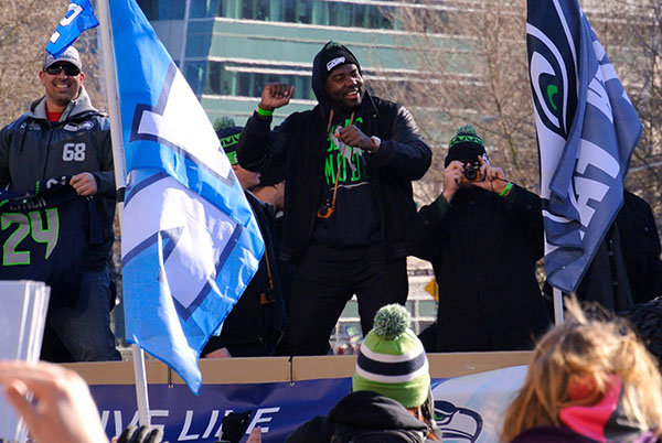 Breno Giacomini and Russell Okung of the Seattle Seahawks at the Superbowl parade.