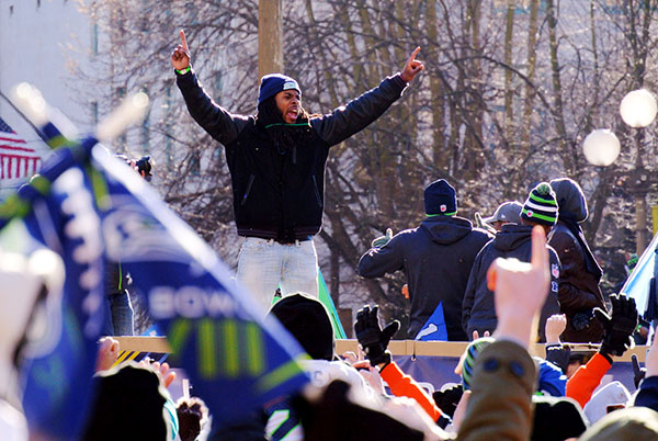 Richard Sherman of the Seattle Seahawks at the Superbowl parade.