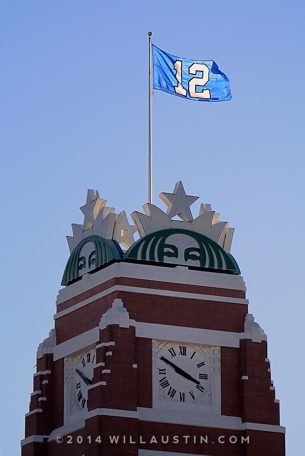 The 12th Man flag flies above Starbucks headquarters