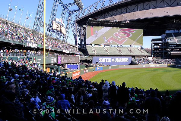 Seahawks fans watch the Super Bowl celebration ceremony from Safeco Field
