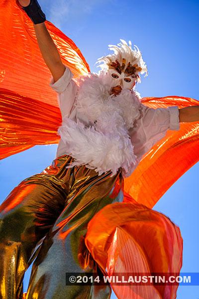 Stiltwalker at the 2014 Fremont Solstice Parade in Seattle