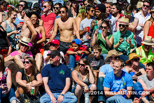 Crowd at the 2014 Fremont Solstice Parade in Seattle including Kieran Davis and Zane Austin