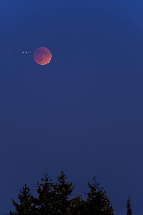 Lunar eclipse with airplane lights, September 2014 Bellevue, WA USA