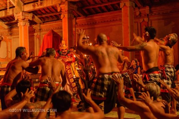 Kecak fire dancers in Ubud, Bali