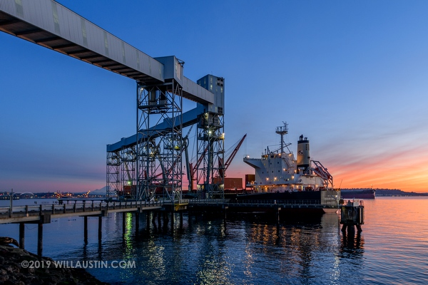 Terminal 86 grain elevator and ship at sunset
