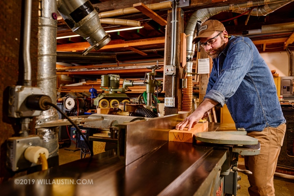 Mike Kunnen of Seattle Historic Window using a planer