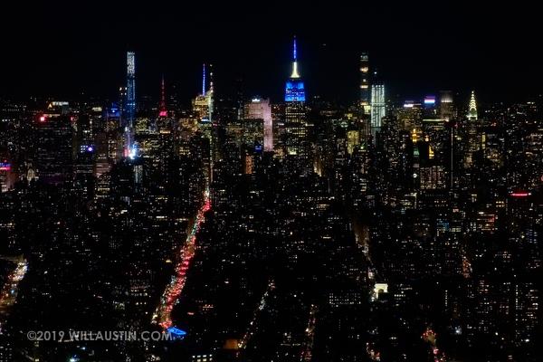 Nighttime photograph of Upper Manhattan