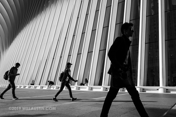 People walking by The Oculus in New York